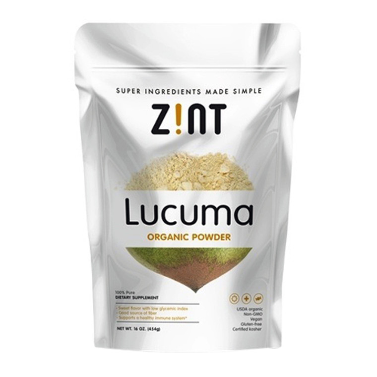 Zint Lucuma Organic Supplement Powder Sweet flavor with Low Glycemic Index, 16 Oz