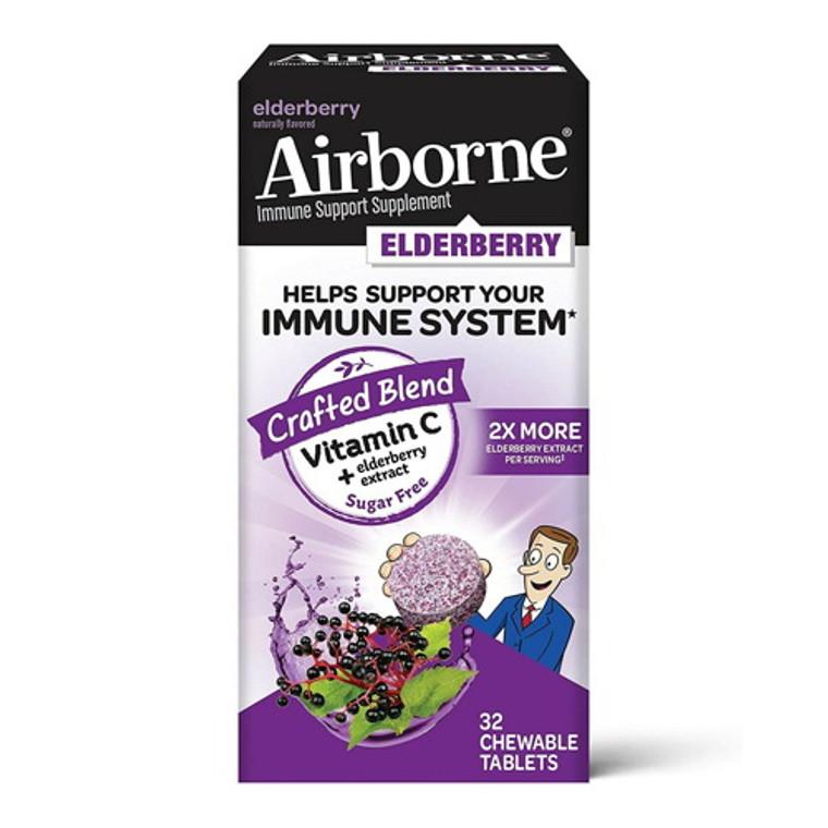 Airborne Vitamin C + Elderberry Immune Support Chewable Tablets, 32 Ea