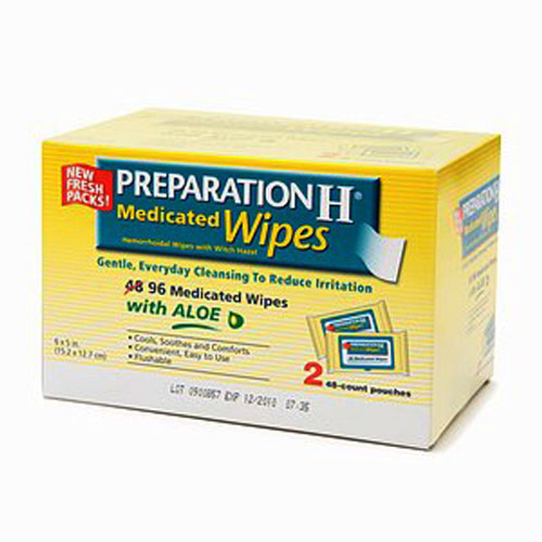 Preparation H Medicated Wipes With Aloe, 96 Ea