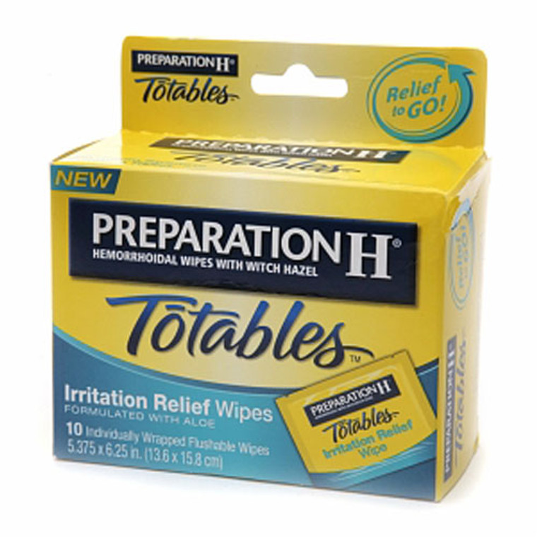 Preparationh Hemorrhoidal Wipes With Witch Hazel, Totables - 10 Ea