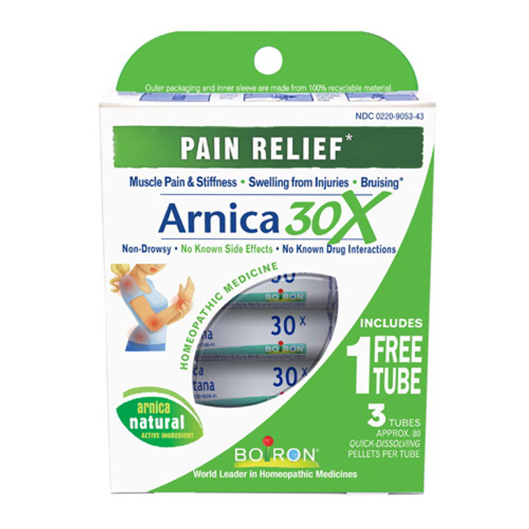 Boiron Arnica 30 X Pain Relief Homeopathic Pellet Tubes, 3 Ea