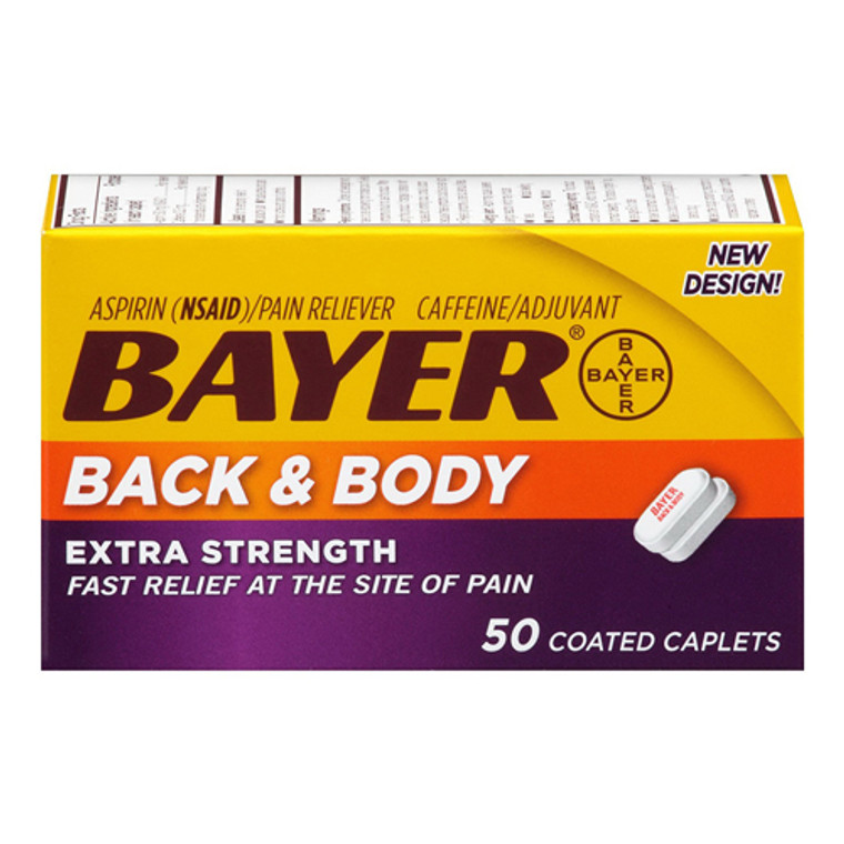 Bayer Extra Strength Aspirin Caplets, Back And Body Pain - 50 Ea
