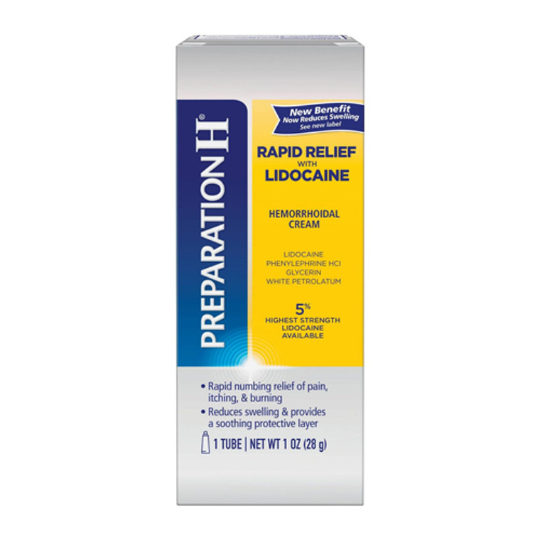 Preparation H Rapid Relief with Lidocaine, Hemorrhoidal Cream Tube, 1 Oz