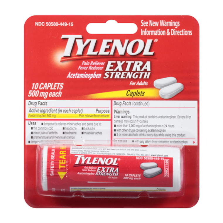 Tylenol Extra Strength Pain Reliever And Fever Reducer Caplets - 10 Ea
