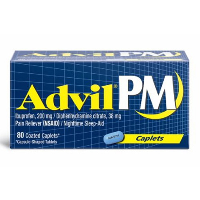 Advil Pm Pain Reliever And Nighttime Sleep-Aid 200Mg Coated Caplets - 80 Ea