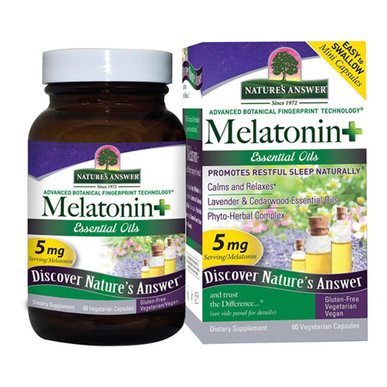 Natures Answer Melatonin Plus Essentials oils 5 Mg Vegetarain Capsule Supplements, 60 Ea