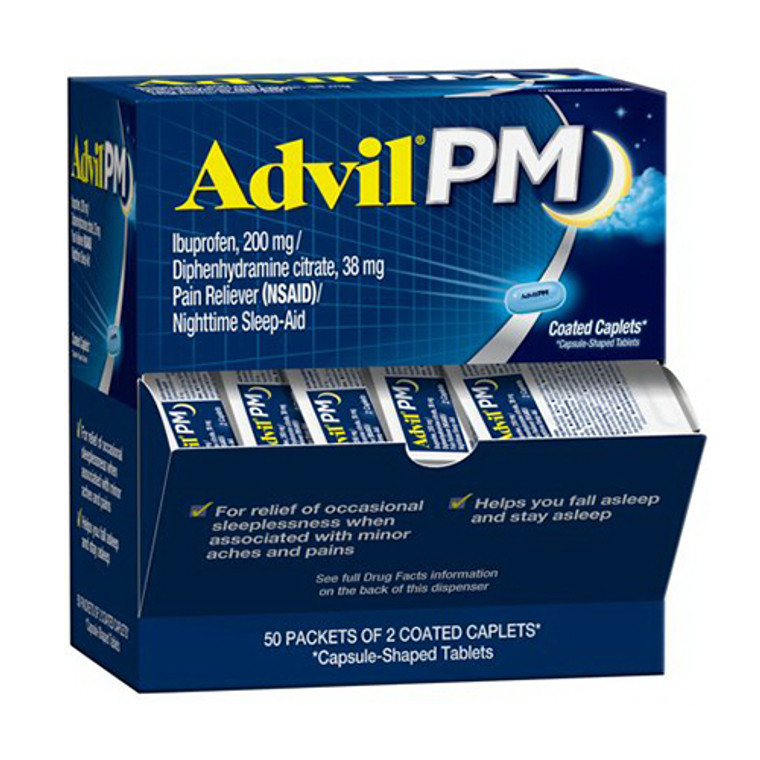 Advil PM Pain Reliever With Nighttime Sleep Aids Caplets, 100 Ea