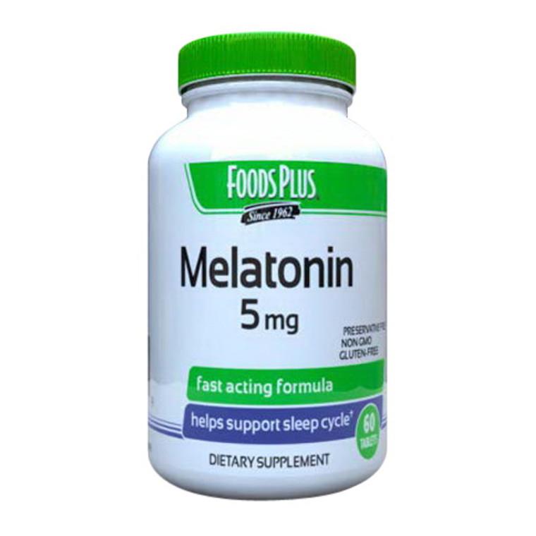Foods Plus Melatonin 5 Mg Sleep Aid Tablets, 60 Ea