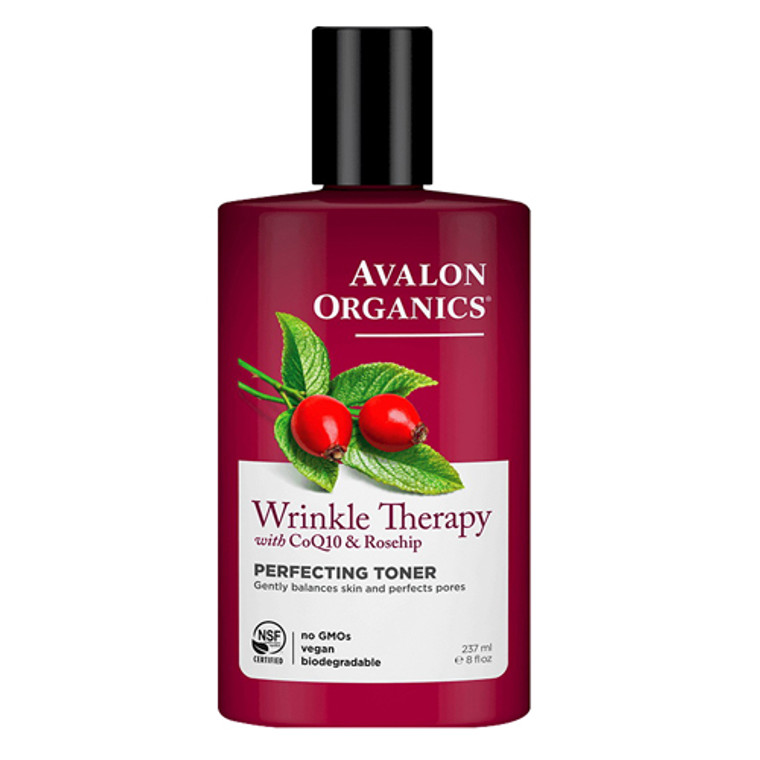 Avalon Organics Wrinkle Theraphy Perfecting Toner With CoQ10 and Rosehip, 8 Oz