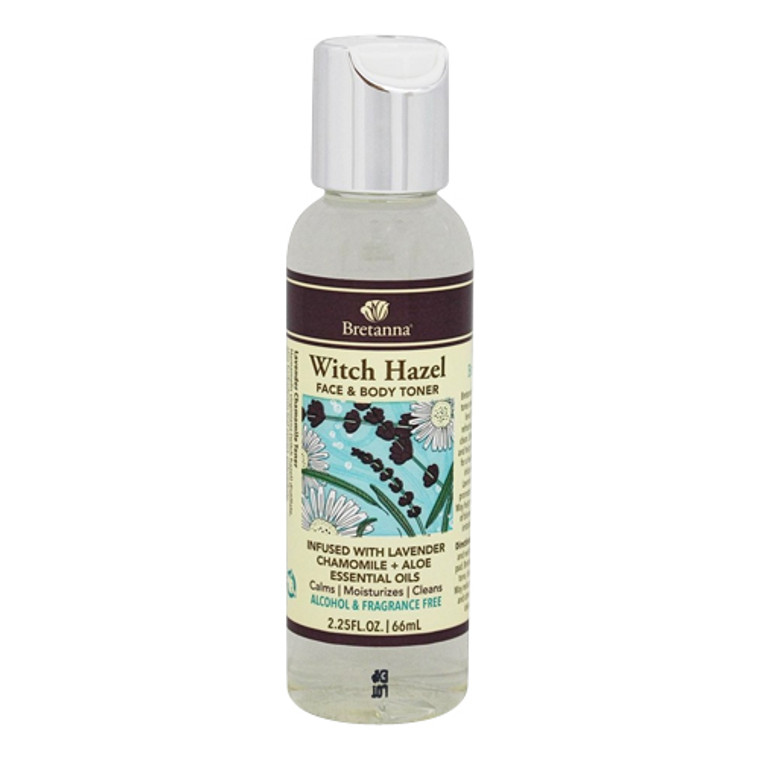 Bretanna Witch Hazel Face And Body Toner Infused with Lavender Chamomile Plus Aloe Essential Oils, 2.25 oz