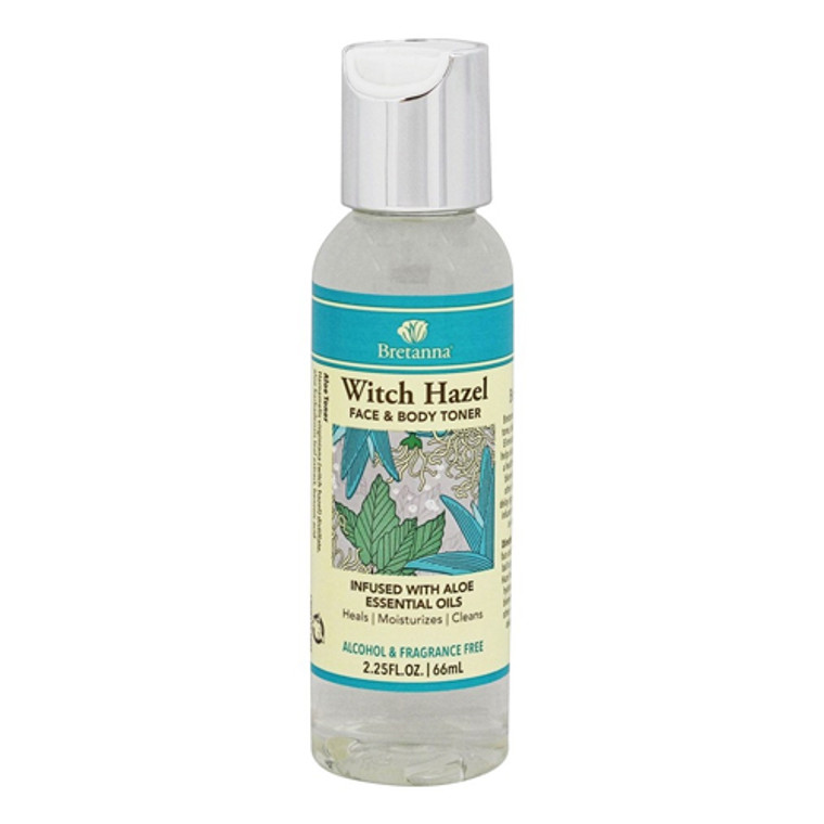 Bretanna Witch Hazel Face and Body Toner, Infused with Aloe Essential Oils, 2.25 Oz