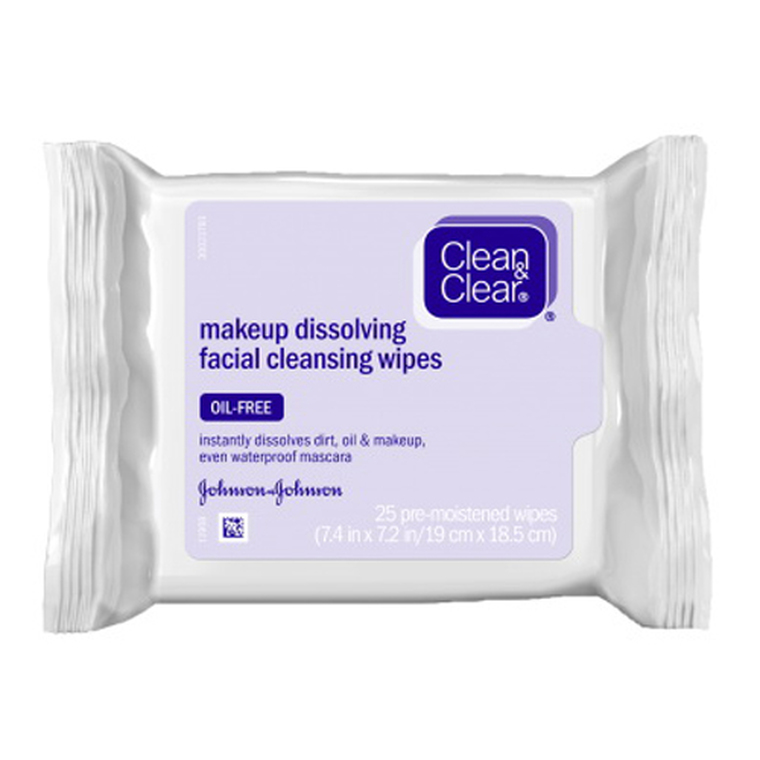 Clean And Clear Makeup Dissolving Facial Cleansing Wipes, Oil-Free - 25 Ea
