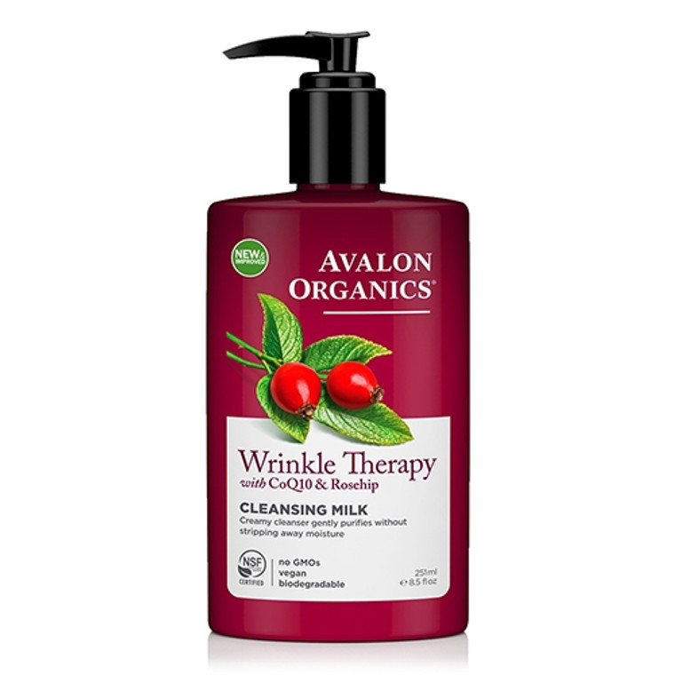 Avalon Organics Wrinkle Therapy Cleansing Milk with CoQ10 and Rosehip, 8.5 oz