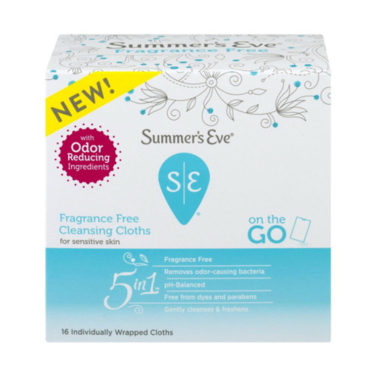 Summers Eve Fragrance Free Cleansing Cloths for On The Go, Sensitive Skin, 16 Ea