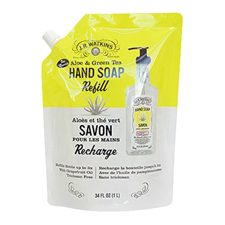 J.R. Watkins Aloe and Green Tea Liquid Hand Soap Refill, Recharge, 34 Oz