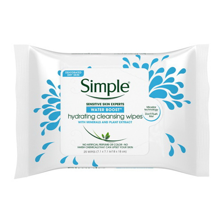 Simple Water Boost Hydrating Cleansing Face Wipes, 25 Ea