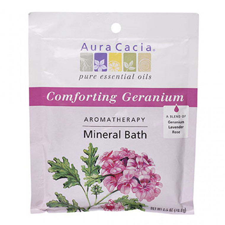 Aura Cacia Heartsong Aromatherapy Mineral Bath, Geranium Lavender Rose - 2.5 oz