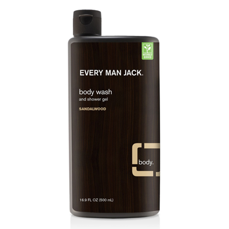 Every Man Jack Body Wash and Shower Gel, Sandalwood, 16.9 Oz