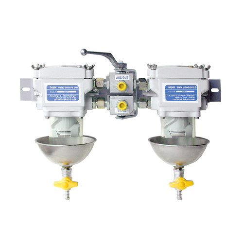 Duplex 79 GPH Fuel Water Separator with Clear Bowl - 50-2535