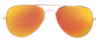 SunKissed Aviator 3025 sunglass front view, Gold frame with Sunburst Orange lenses