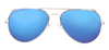 SunKissed Aviator 3025 sunglass front view, Gold frame with Blue Chrome lenses