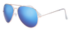 SunKissed Aviator 3025 sunglass, Gold frame with Blue Chrome lenses