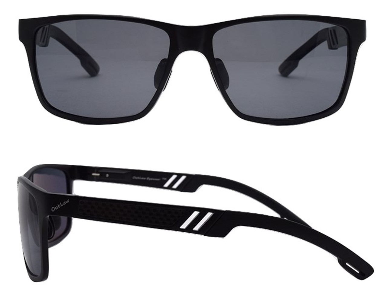 22f30f62aed OutLaw Eyewear Wayfarer Mg sunglass Black frame with Polarized Gray lenses