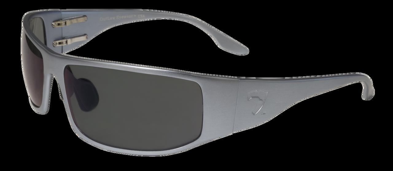 GRAY POLARIZED Lens Aluminum Sunglasses Outlaw Eyewear Fugitive TAC BLACK