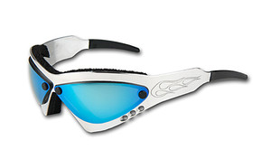 Wind Warrior Billet Aluminum Sunglasses - Blue Chrome lenses