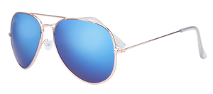 SunKissed Aviator Sunglasses, Gold frame with Blue Chrome lenses. Fashion Sunglasses for high School students.