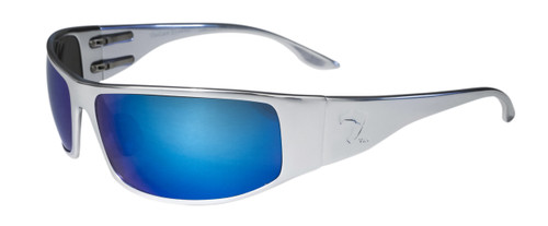 OutLaw Eyewear Fugitive Polished Chrome Aluminum frame Sunglasses with Blue Chrome mirror lenses. Motorcycle sunglass with blue lenses.