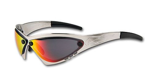 WildSide Eliminator Billet Aluminum Sunglasses - Polished Aluminum frame Cherry Chrome lenses