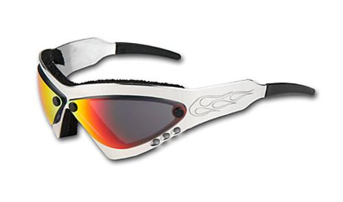 Wind Warrior Billet Aluminum Motorcycle Sunglasses - Cherry Chrome lenses
