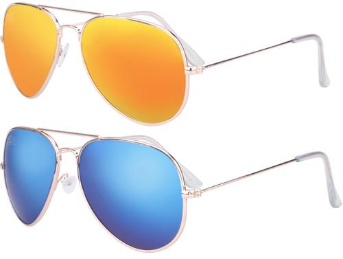 SunKissed Aviator 3025 sunglass, Gold frame with Blue Chrome lenses and Gold Chrome lenses Bulk Pack of 2 glasses