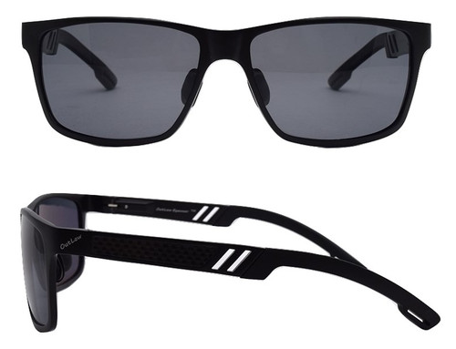 OutLaw Eyewear Wayfarer Mg sunglass Black frame with Polarized Gray lenses