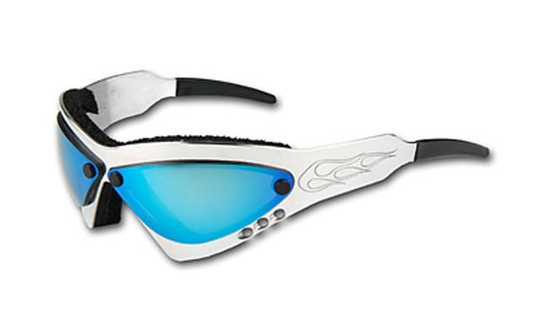 Wind Warrior Billet Aluminum Sunglasses - Blue Chrome lenses