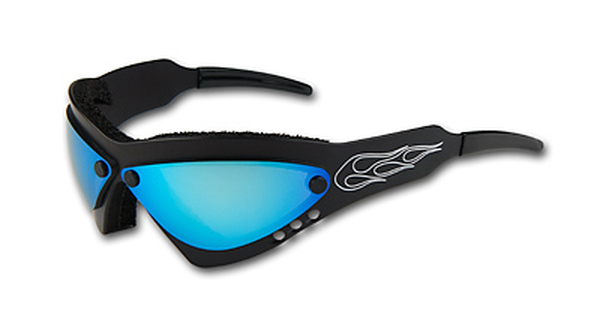 Wind Warrior Billet Aluminum Sunglasses - Blue Chrome lenses WindWarBlackBlue