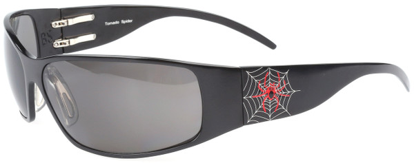 OutLaw Eyewear Tornado Spider Aluminum Sunglass, Black frame with Gray Shatter Proof lenses