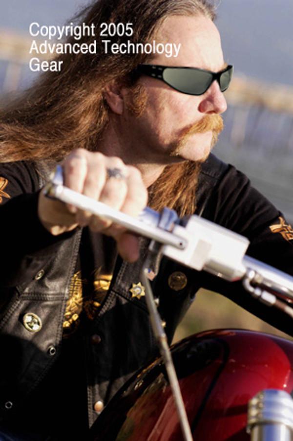 Gatorz Wraptor Black frame on a motorcycle mens sunglass
