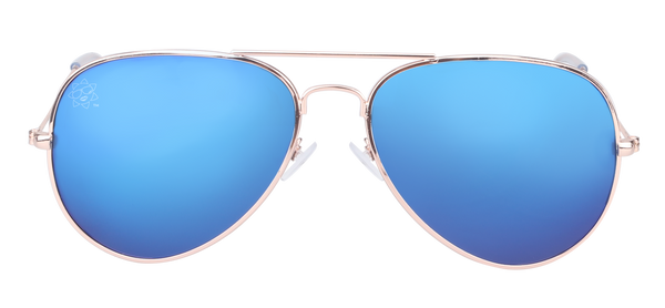 SunKissed Aviator Sunglasses side view, Gold frame with Blue Chrome lenses. Fashion Sunglasses for high School students.