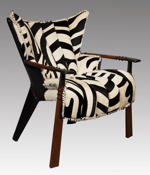"37"" Zebra hide print club arm chair Australian leather exotic wood cool details"