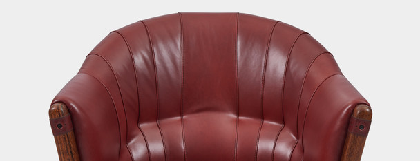 36 W Demetria Armchair Palm wood and leather strapping  Italian Maroon