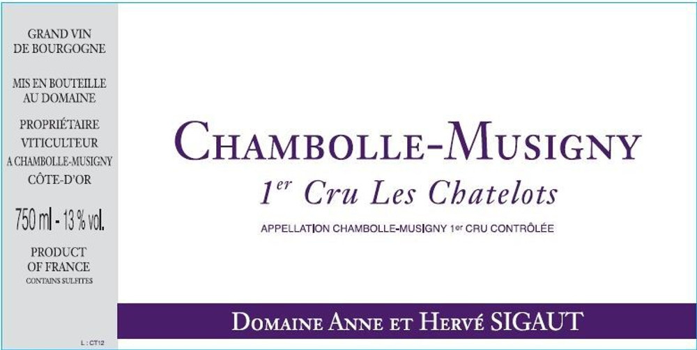 Domaine Anne et Herve Sigaut Chambolle-Musigny Les Chatelots 1er Cru 2011 750ml