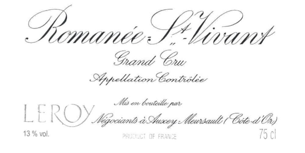 Domaine Leroy Romanee-Saint-Vivant Grand Cru 1976 750ml