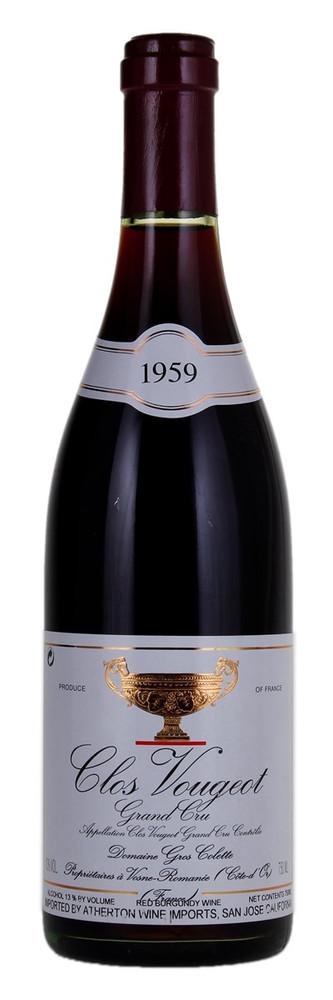 Colette Gros Clos de Vougeot Grand Cru 1959 750ml