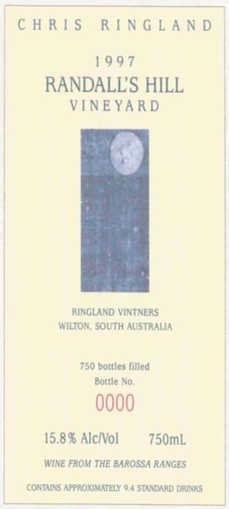 Chris Ringland Shiraz Randall's Hill Vineyard 1997 750ml