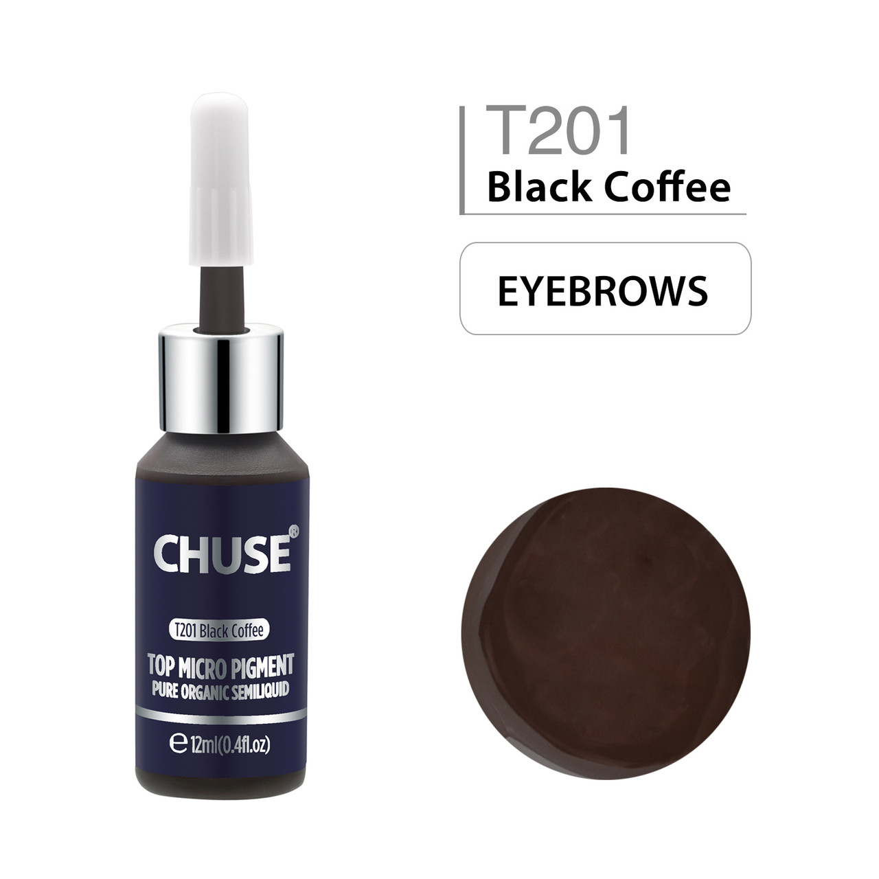 CHUSE T201, 12ml, Black Coffee, Passed SGS,DermaTest Top Micro Pigment  Cosmetic Color Permanent Makeup Tattoo Ink