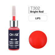 CHUSE T302, 12ml, Bright Red, Passed SGS,DermaTest Top Micro Pigment Cosmetic Color Permanent Makeup Tattoo Ink