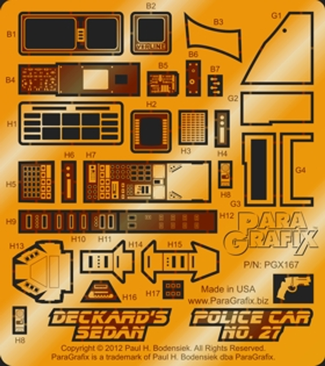 Paragrafix PGX167 Deckard's Sedan / Police Car No. 27 Photoetch Set