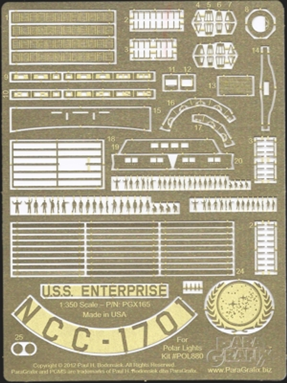 Paragrafix PGX165 1/350 TOS Enterprise Supplemental Photoetch Set